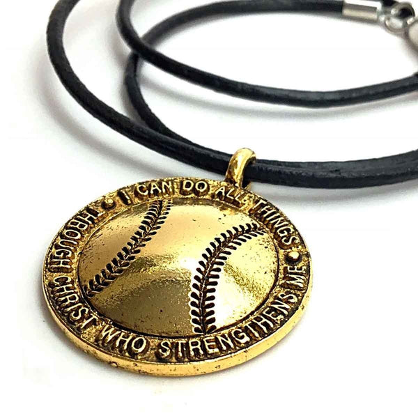 Gold Softball Necklace