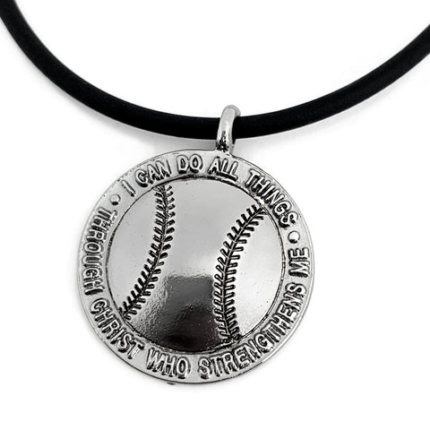 Baseball Necklace Gunmetal Finish Color