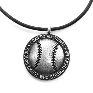 Baseball Necklace Antique Silver