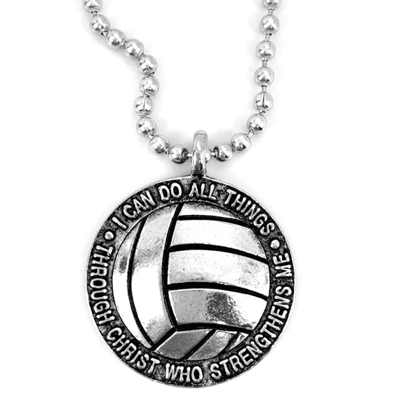Volleyball Antique Silver Necklace