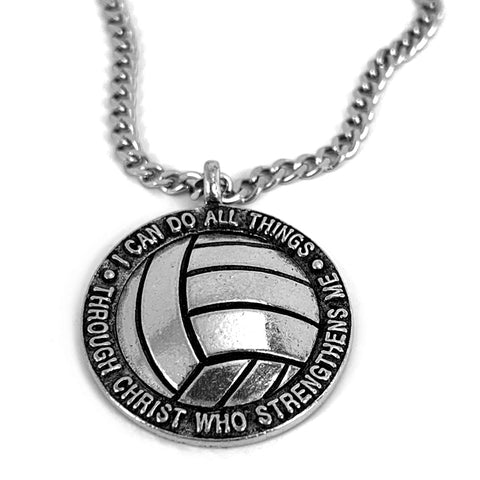 Volleyball Antique Silver 18 Inch Chain Necklace