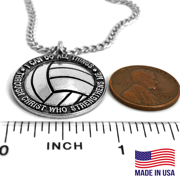 Volleyball Antique Silver Chain Necklace