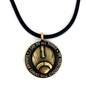 Football Necklace Antique Brass