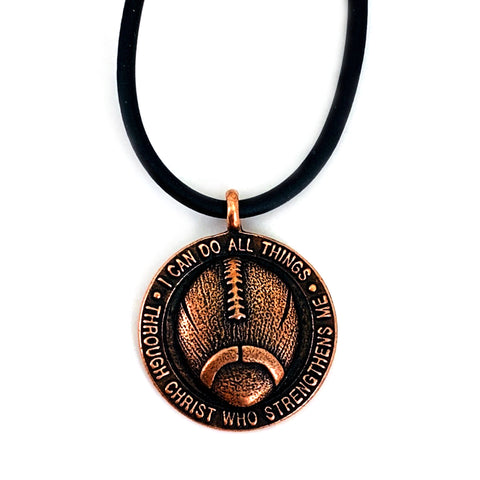 Football Necklace Antique Copper