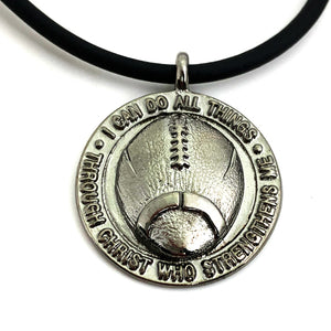 Football Necklace Pewter With Gunmetal Finish