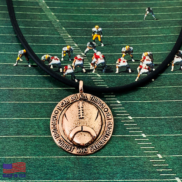 Football Necklace Antique Rose Gold Finish