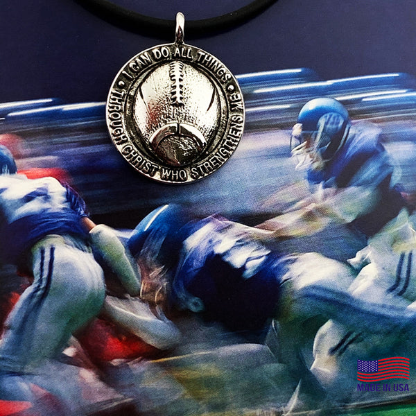 Football Necklace Pewter With Rhodium Metal Finish