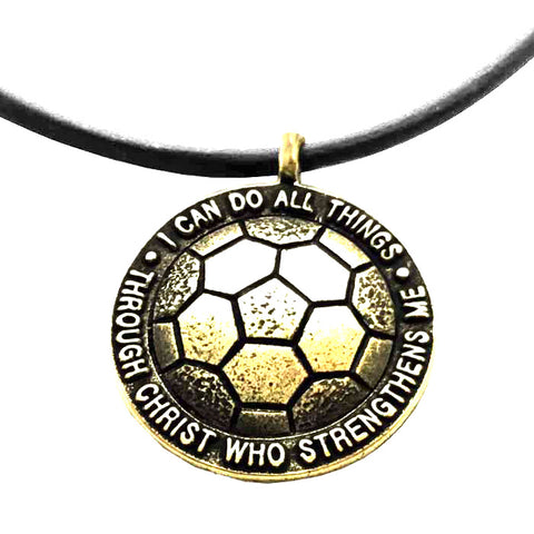 Soccer Necklace in Brass