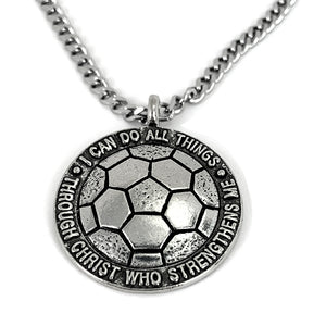 Soccer Necklace Antique Pewter 24 Inch Chain