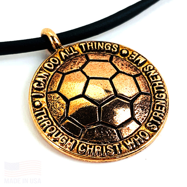 Soccer Rose Gold Color Finish Necklace on Black Rubber