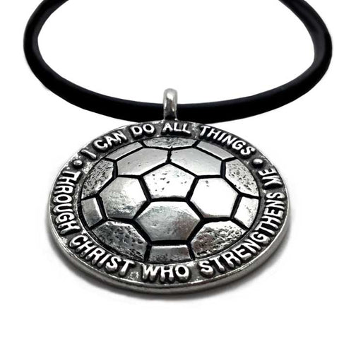Soccer Necklace on Black Rubber