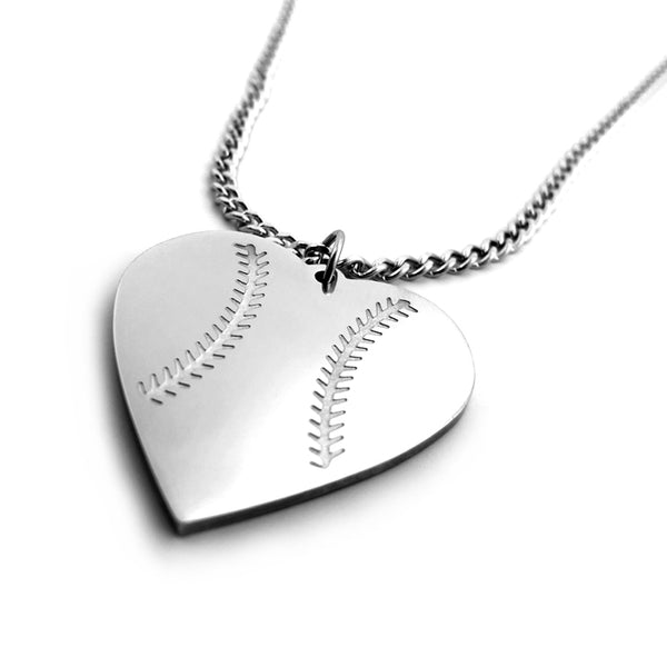 Baseball Heart Necklace on Chain