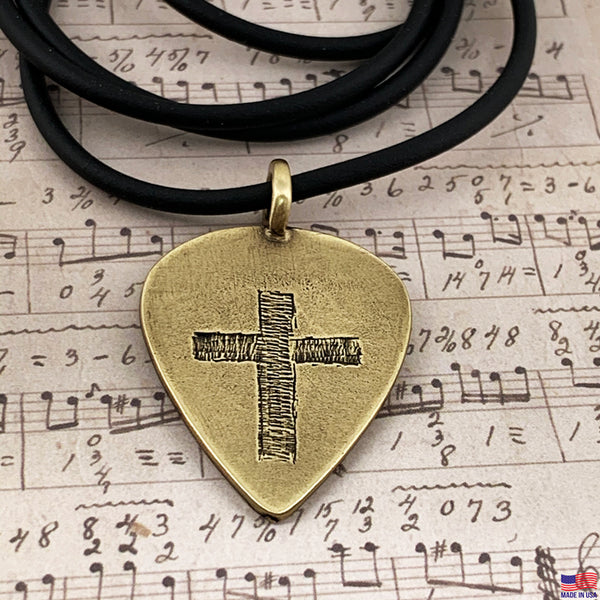 Cross Brass Guitar Pick Necklace