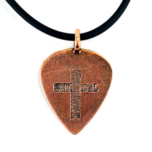Cross Copper Guitar Pick Necklace