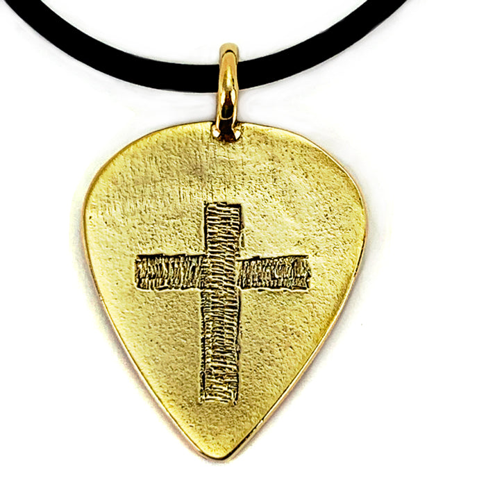 Cross Gold Guitar Pick Necklace