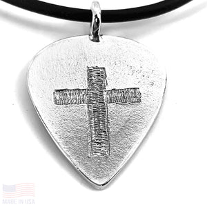 Guitar Pick With Cross Necklace Rhodium Finish