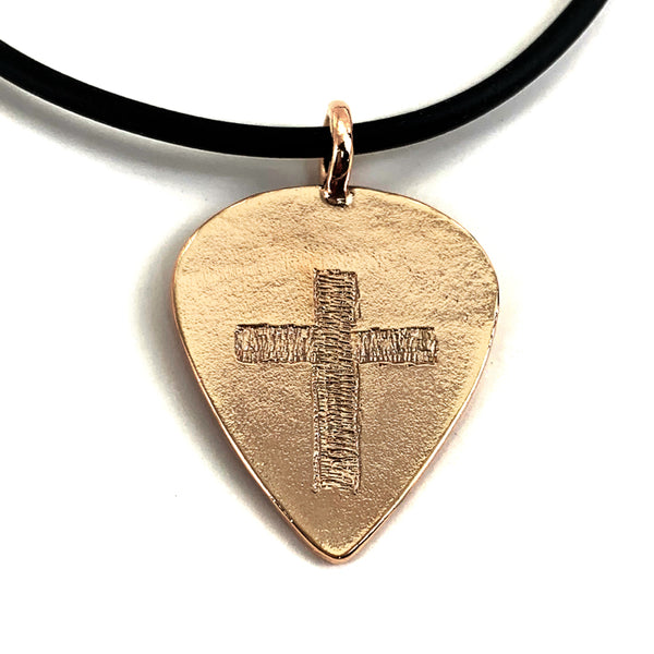Guitar Pick With Cross Necklace Rose Gold Finish