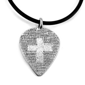 Cross Guitar Pick Pewter Necklace