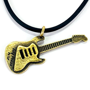 Electric Guitar Sing Praise Brass Necklace