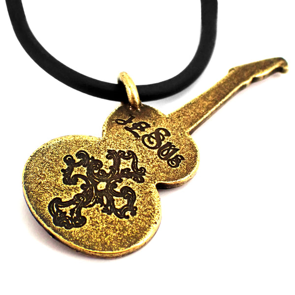 Electric Guitar Brass Pewter Necklace