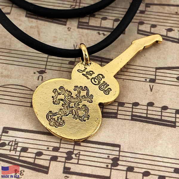 Electric Guitar Jesus Antique Gold Finish Necklace