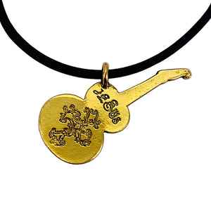 Electric Guitar Gold Pewter Necklace