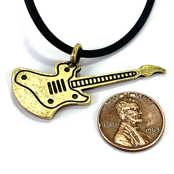 Electric Guitar Antique Brass Pewter Necklace