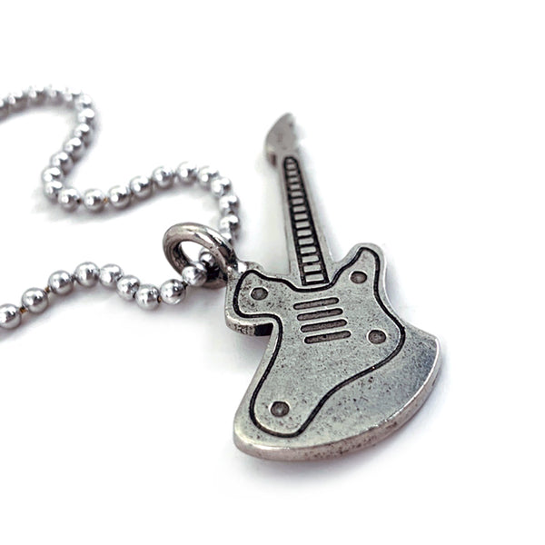 Electric Guitar Antique Silver Ball Chain Necklace