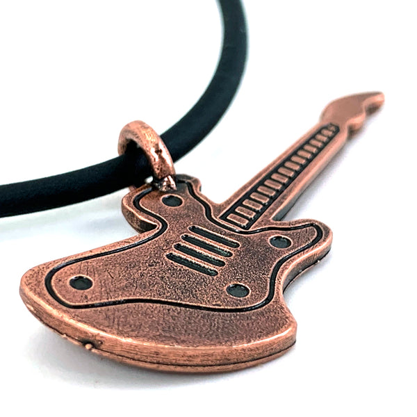 Electric Guitar Antique Copper Pewter Necklace