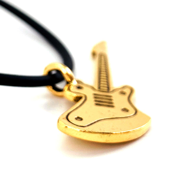 Electric Guitar Antique Gold Pewter Necklace