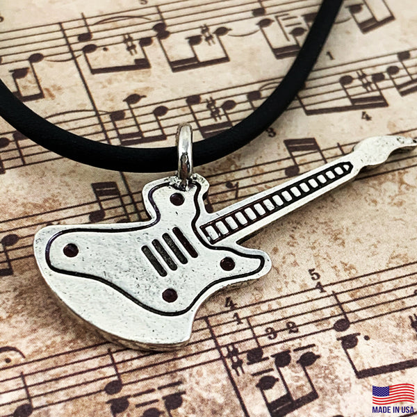Electric Guitar Antique Pewter Necklace