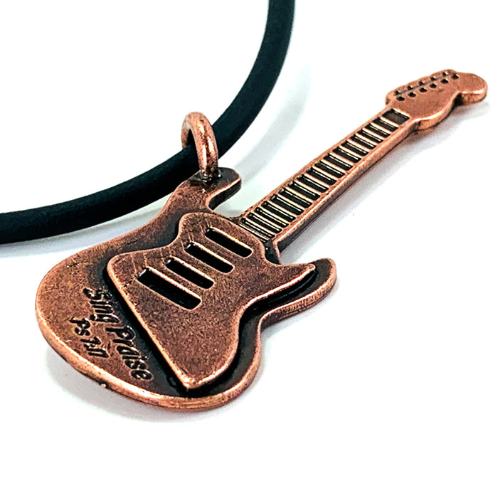 Electric Guitar Sing Praise Copper Necklace
