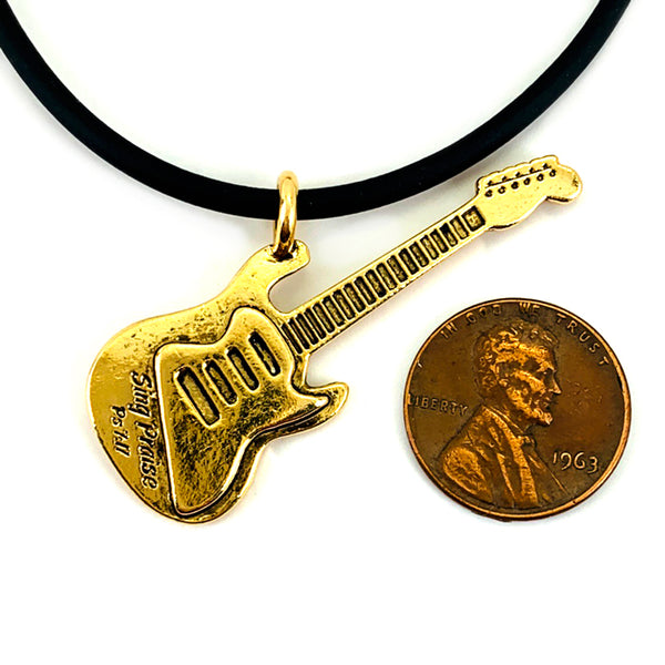 Electric Guitar Sing Praise Gold Necklace