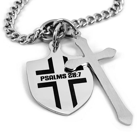 Shield with Cross 18 Inch Chain Necklace