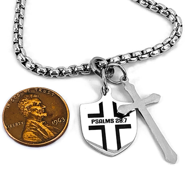 Shield with Cross Heavy Chain Necklace