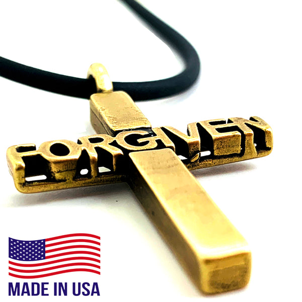 Forgiven Cross Brass Necklace