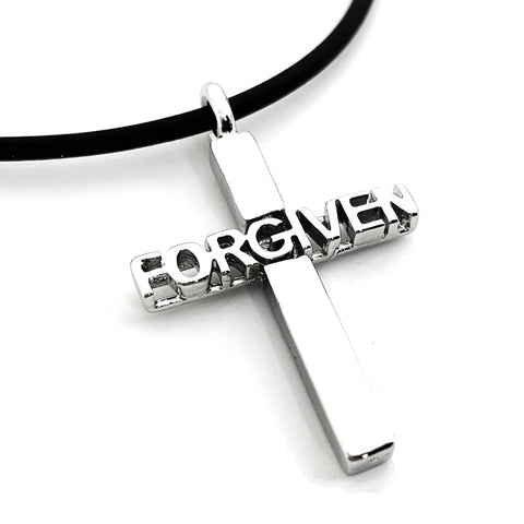 Forgiven Cross Rhodium Metal Finish Necklace