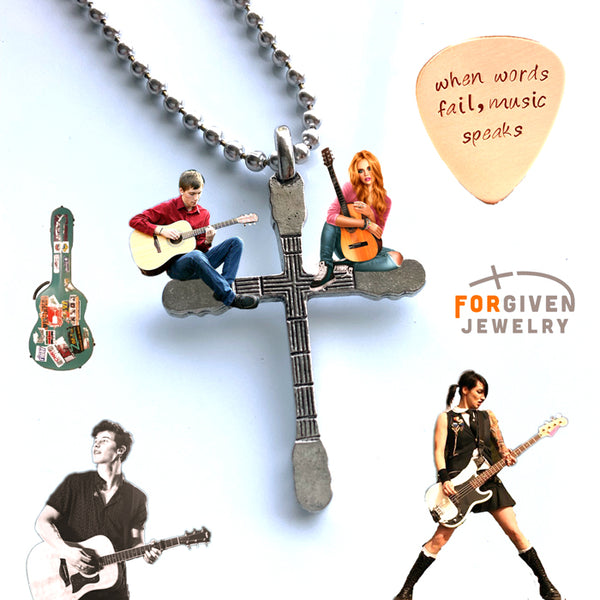 Guitar Neck Cross Silver Ball Chain