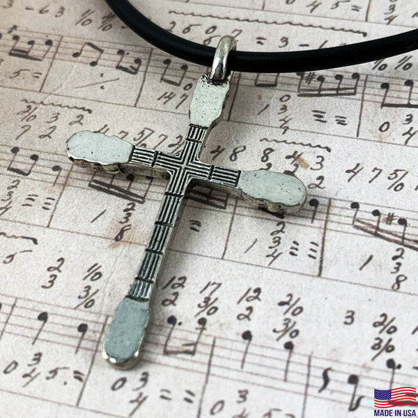 Guitar Neck Cross Silver