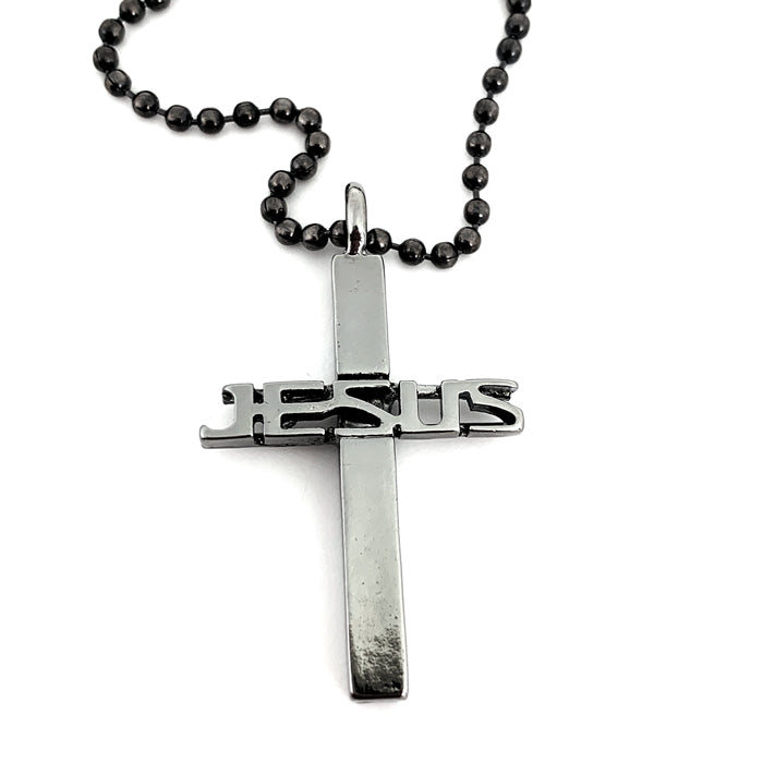 Jesus Cross Gunmetal on Ball Chain