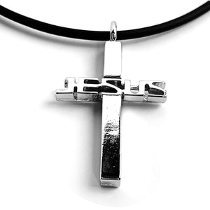 Jesus Cross Pewter Necklace With Rhodium Metal Finish