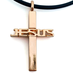Jesus Cross Rose Gold Color Finish Necklace