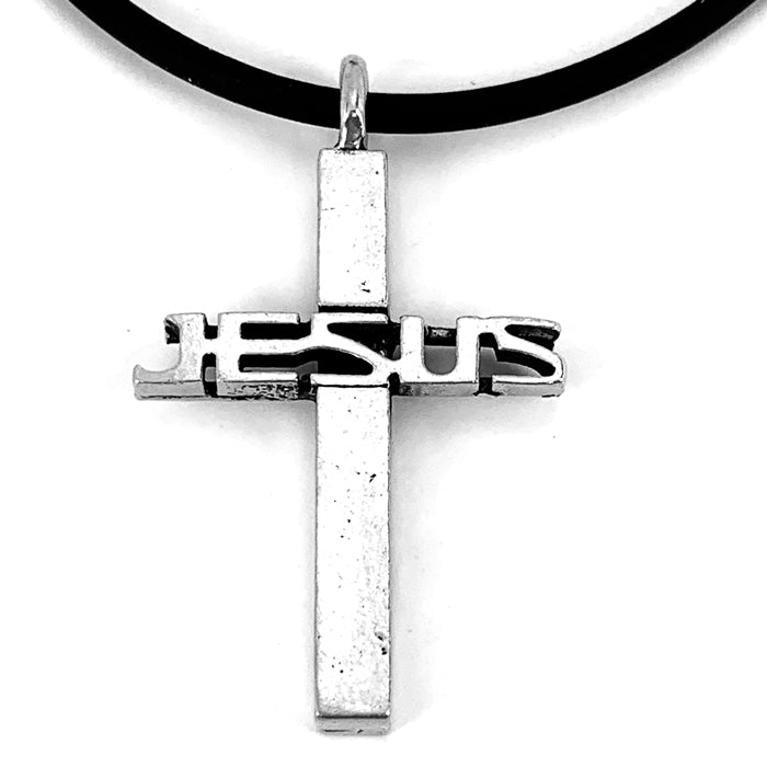 Jesus Cross Pewter Necklace