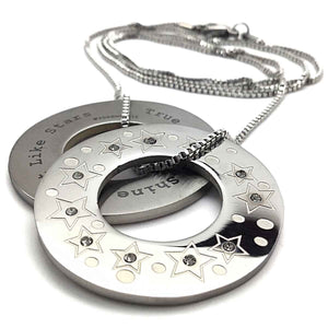 bff true friends necklace disc washer crystals text