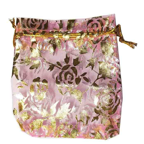 Pink or Lavender Organza Gold Floral Print Gift Pouch Only $1.99