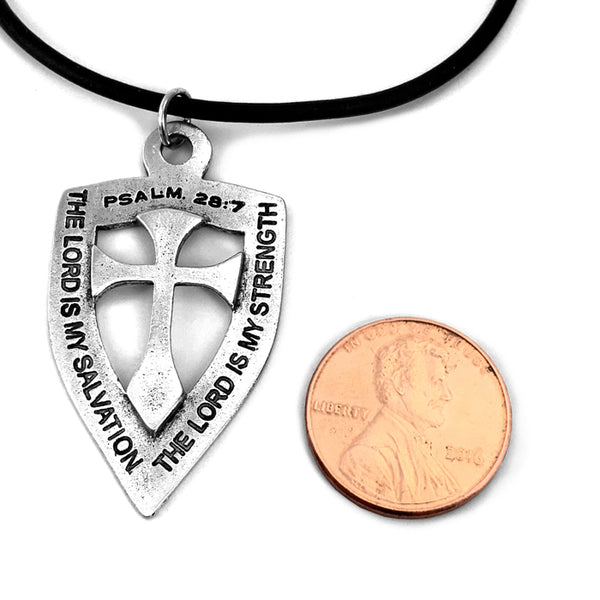 Shield with Cross Pendant Necklace Antique Silver Finish