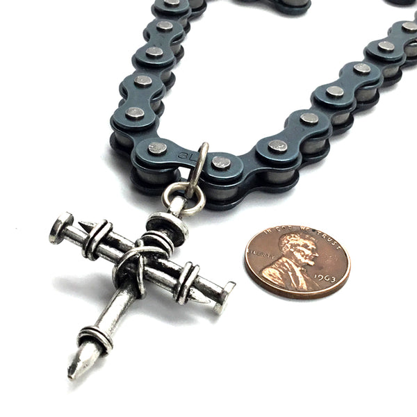 Pewter Nail Cross on Heavy Bike Chain Black
