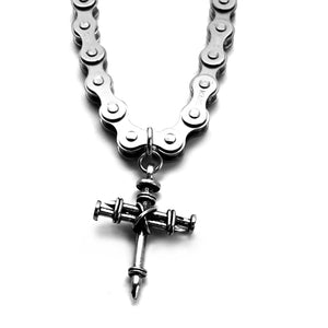 Pewter Nail Cross on Heavy Bike Chain Silver