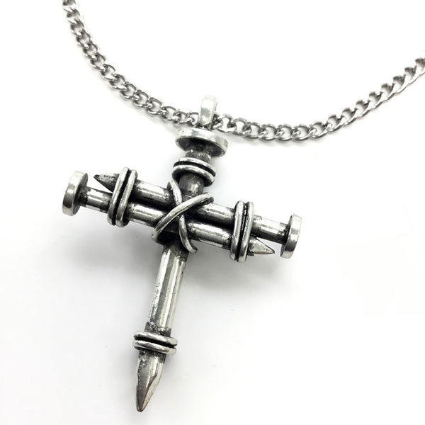 Pewter Nail Cross Necklace on Chain