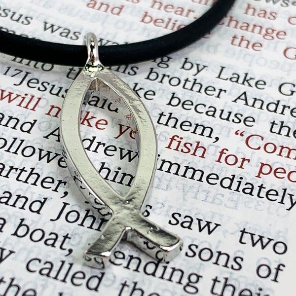 Ichthus Fish Rhodium Metal Necklace